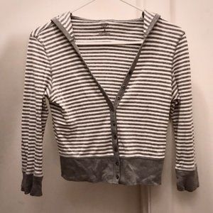 GAP White and Gray Striped Hooded Cardigan